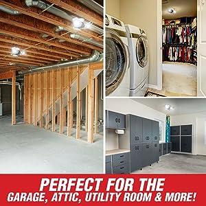 garage, attic, basement
