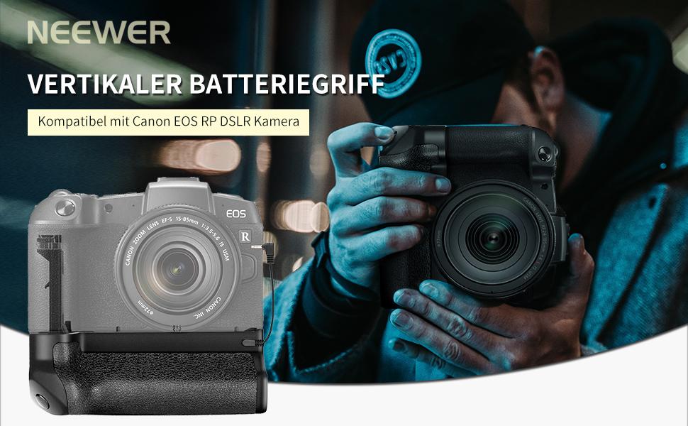 Neewer vertikaler Batteriegriff Kompatibel mit Canon EOS RP DSLR Kamera mit 2 Packungen 7,4 V 1250mAh Canon LP-E17 Ersatz wiederaufladbarer Li-Ionen Akku