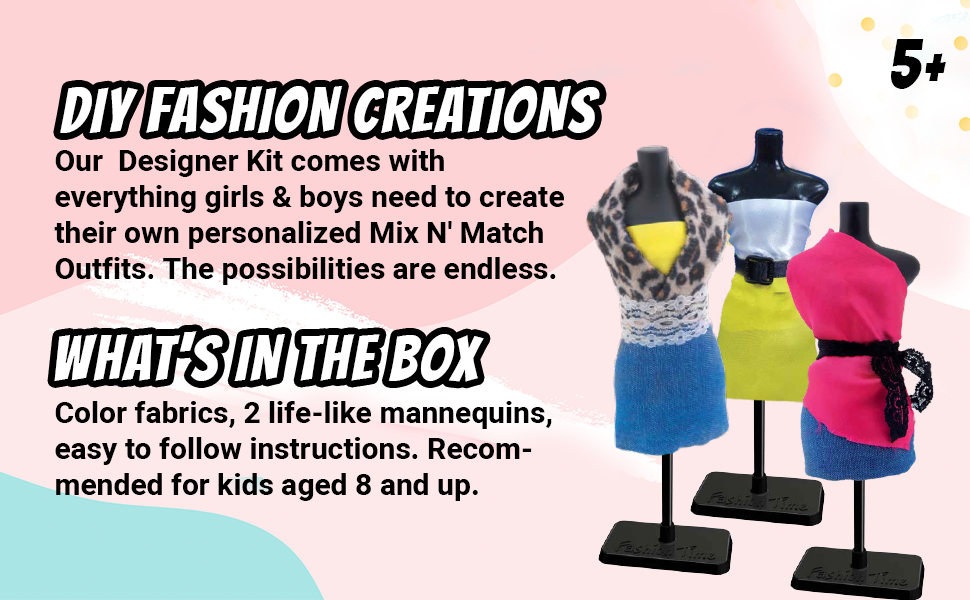 Amazon Com Mav Toys Fashion Time Glam Fashion Designer Diy Create Mix Match Outfits Fashion Creations Easy To Use No Cutting Or Sewing Sparks Creativity Style For Fashion