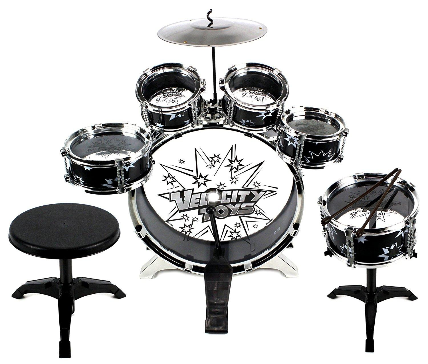 11 piece kids dum set children 39 s musical instrument drum play set w 6 drums cymbal chair. Black Bedroom Furniture Sets. Home Design Ideas