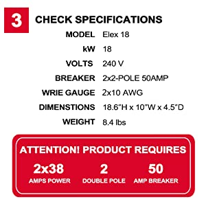 check specifications of thermoflow Elex 18