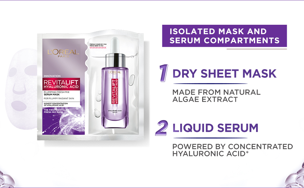 Hyaluronic Acid Products - L'Oréal Revitalift Hyaluronic Acid Fresh Mix Serum Sheet Mask