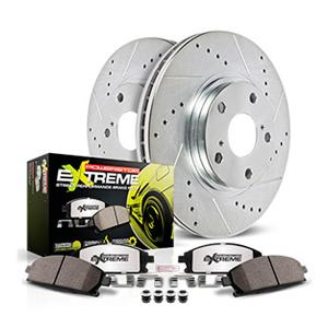 rotor and pad kit, drilled and slotted rotors, ceramic pads, carbon-fiber pads