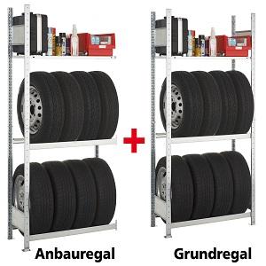 Stecksystem mit 2 Reifenregale und 1 Fachboden SCHULTE Lagertechnik Garagen-Set Anbauregal 1800x1000x400 mm