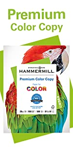 Ream of Hammermill Premium Color Copy 28lb letter size print and copy paper, 500 sheets, Made in USA