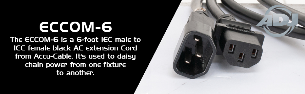Accu cable Supply Eccom-6 Iec Cable Male To Female 6 Ft Long