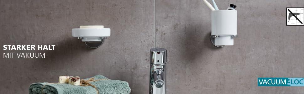 Befestigen ohne bohren Vacuum-Loc Wand Zahnputzbecher Milazzo 2er Set