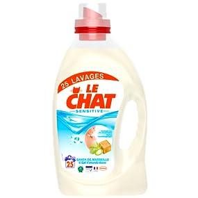 le chat sensitive lessive liquide savon de marseille amande douce 1 875 l 25 lavages amazon. Black Bedroom Furniture Sets. Home Design Ideas