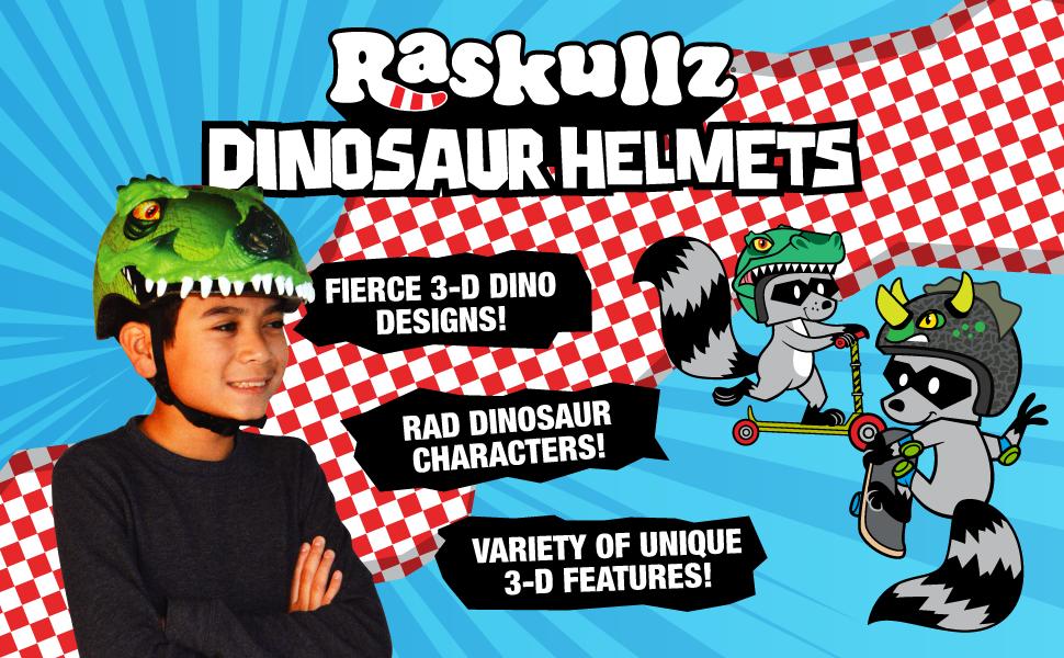 raskullz dinosaur helmets, child, boy helmets, dino, t-rex, triceratops, bike skate scooter
