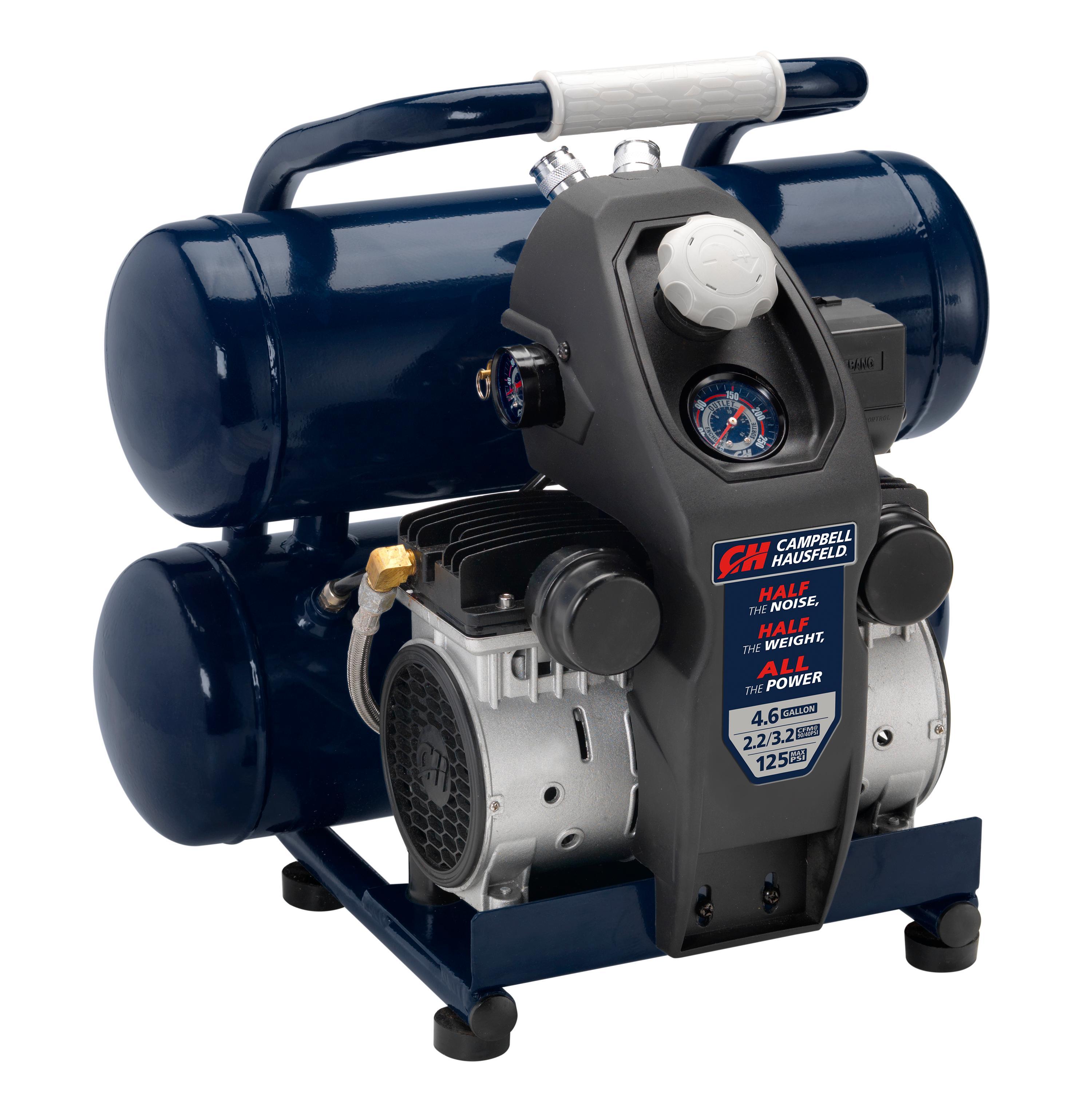 Quiet Air Compressor, Lightweight, 4.6 Gallon, Half the