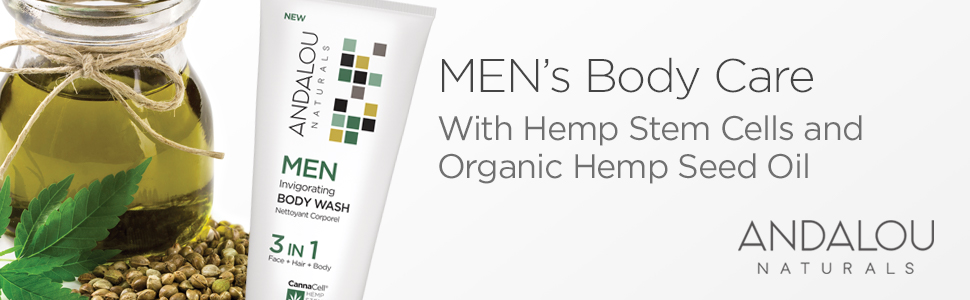 andalou naturals mens body wash with hemp stem cells and organic hemp seed oil