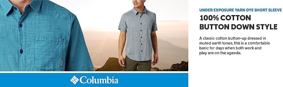 Columbia Men's Under Exposure Yarn Dyed Short Sleeve Cotton Shirt