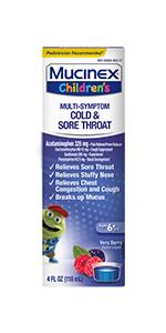 Mucinex Children's Multi-Symptom Cold amp; Sore Throat Liquid