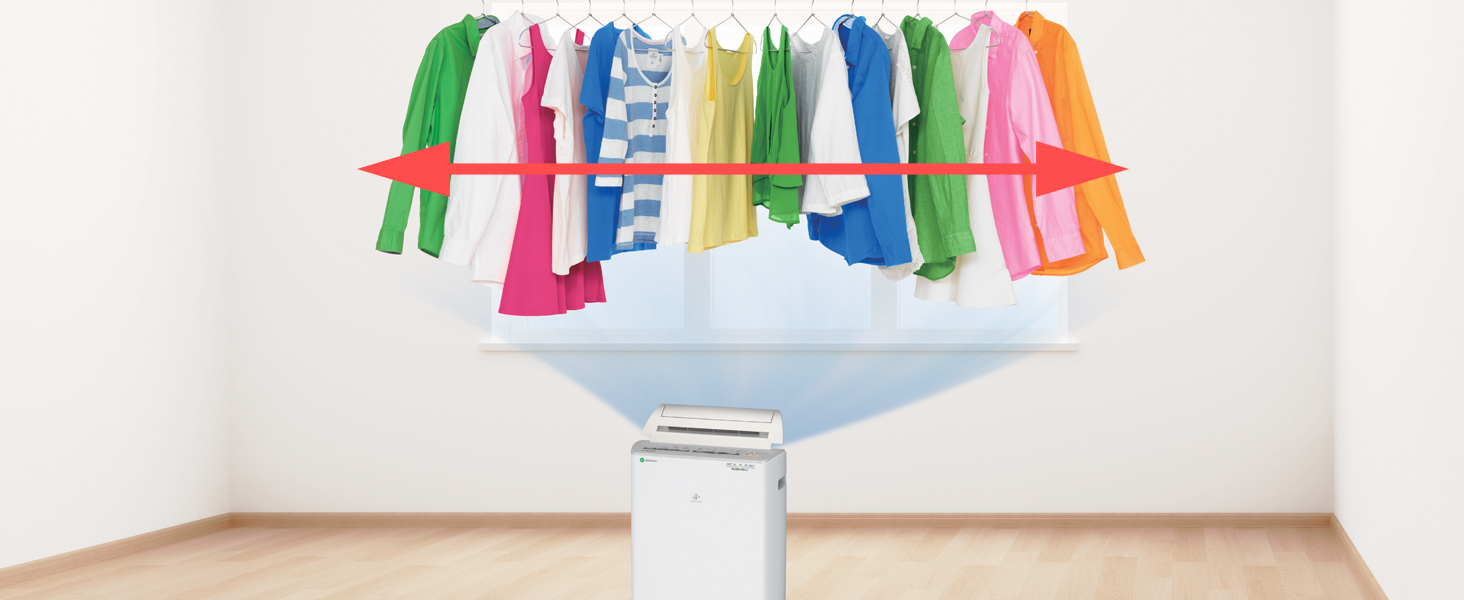 ワイド送風 送風幅165㎝ 広い 大量 洗濯物 乾く しっかり届く 風 家族 スピード乾燥 パワフル 衣類乾燥 除湿 じょしつ 部屋干し 部屋干し臭 ワイド  広範囲 ムラなく 均一 洗濯物