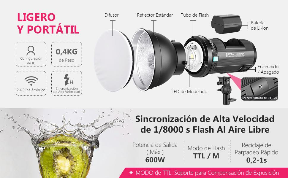 Neewer i6T EX 600W 2,4G TTL Estudio Estroboscópico 1/8000 HSS ...