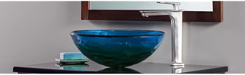 Blue Glass Vessel, Glass Bowl Sinks, Novatto Sinks, Modern Bath Sinks, Glass