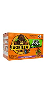 gorilla kids school glue sticks disappearing purple bulk pack