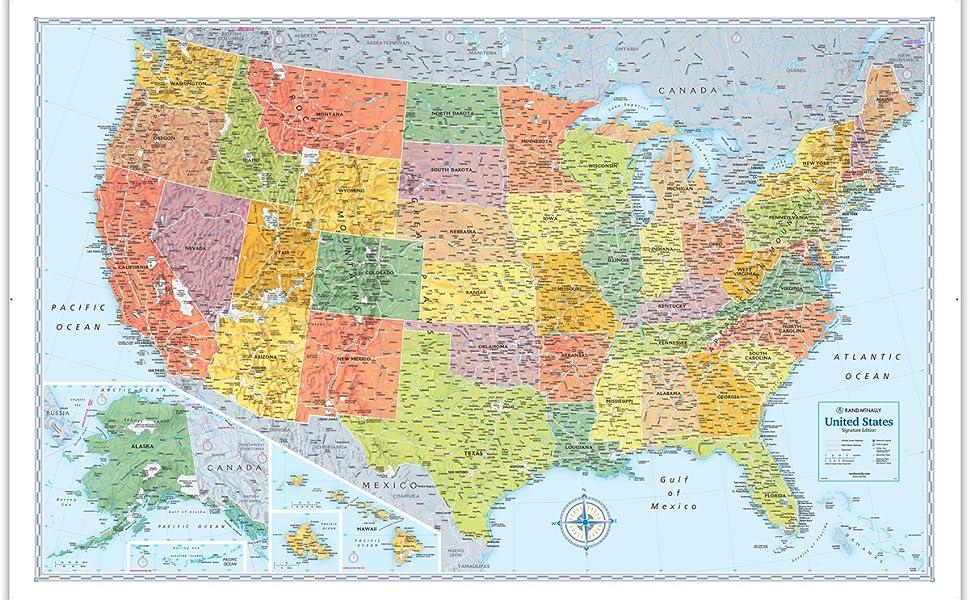 united states wall map Rand McNally Signature United States Wall Map   Laminated: Rand