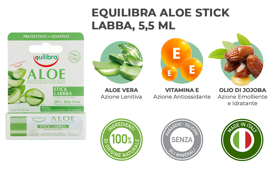 Equilibra Aloe Stick Labbra, 5,5 ml