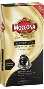 Moccona coffe, Moccona capsules, ristretto, espresso, coffee machine, coffee capsules