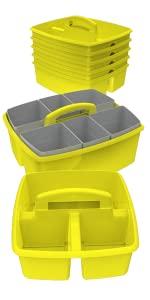 Storex Small Book Bin, Yellow, 6-Pack