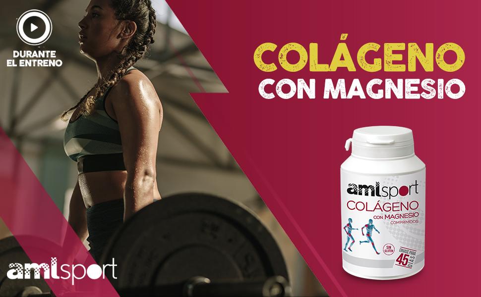 AMLsport - Colágeno con magnesio – 270 comprimidos articulaciones fuertes. Regenerador de tejidos con colágeno hidrolizado tipo 1 y tipo 2. Envase ...