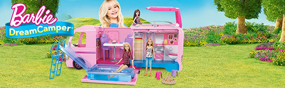 Barbie Dream Camper Playset Pop Out Pool Water Slide Hammocks Kitchen Bathroom