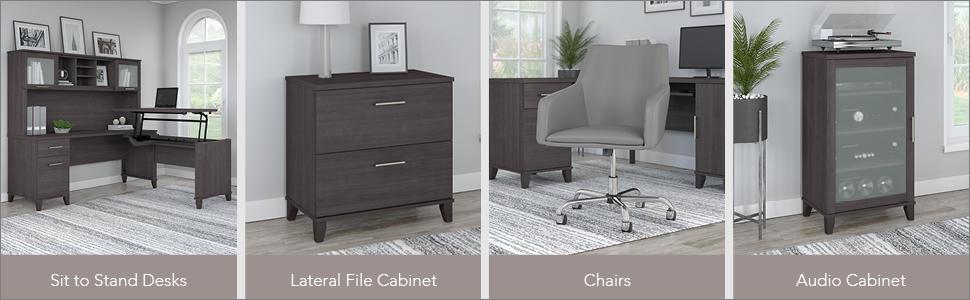 bush furniture,somerset,storm gray,traditional