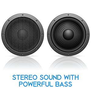 stereo sound heavy bass mids treble surround crystal clear clarity