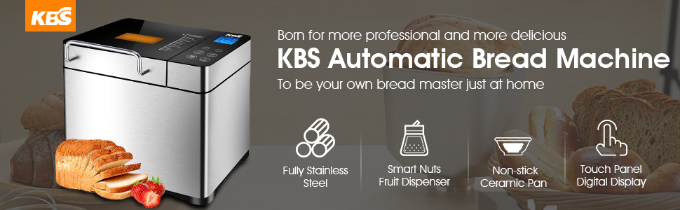 KBS Pro Stainless Steel Bread Machine, 2LB 17-in-1 Programmable XL Bread Maker with Fruit Nut Dispenser, Nonstick Ceramic Pan& Digital Touch Panel, 3 ...