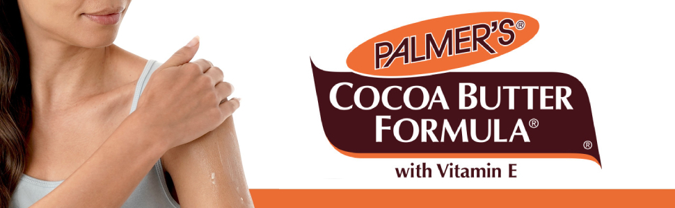 Cocoa Butter Formula logo with woman applying lotion to shoulder