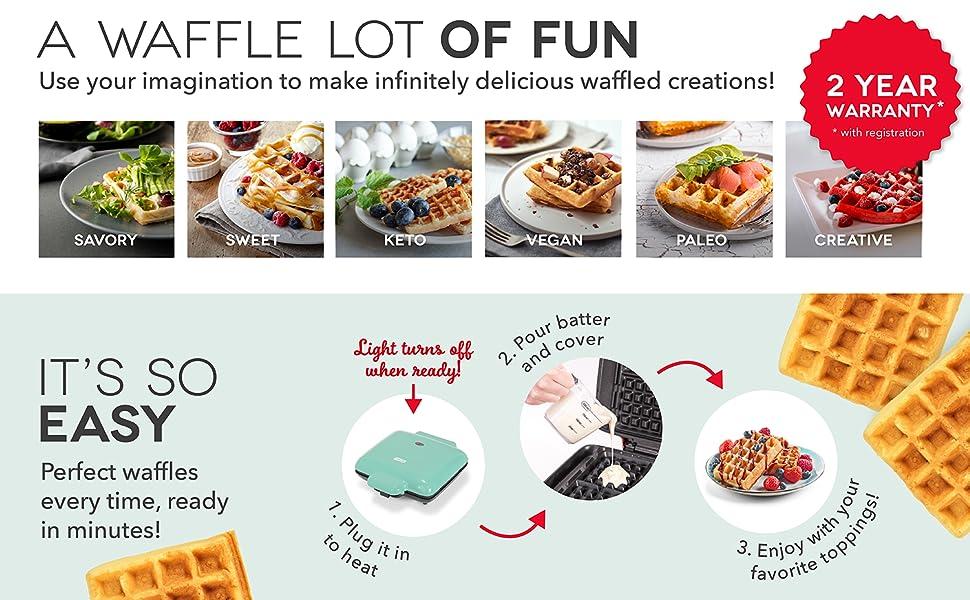 waffle, maker, dash, Belgium, machine, no drip, no mess
