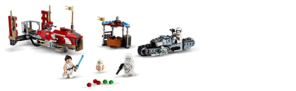 Amazon Com Lego Star Wars The Rise Of Skywalker Pasaana Speeder Chase 75250 Hovering Transport Speeder Building Kit With Action Figures 373 Pieces Toys Games