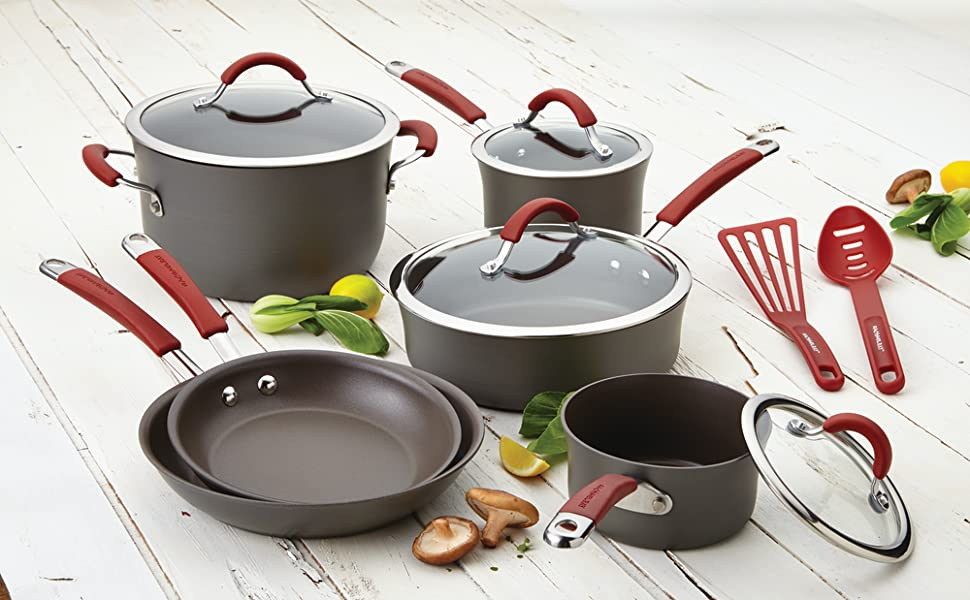 rachel ray, rachael ray, pots and pans, cookware, nonstick cookware, skillet, nonstick skillet