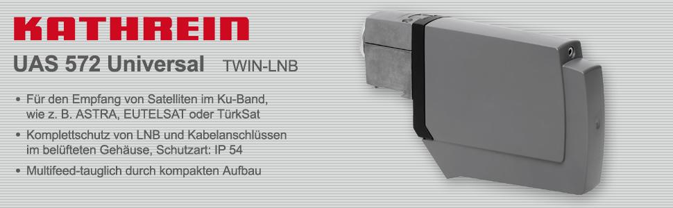 Twin Universal LNB 2 Teilnehmer mit optimaler Mobilfunkabschirmung digital, HDTV-tauglich, 4K//UHD-tauglich, 3D-tauglich Fuba DEK 217 Twin LNB mit Wetterschutzgeh/äuse