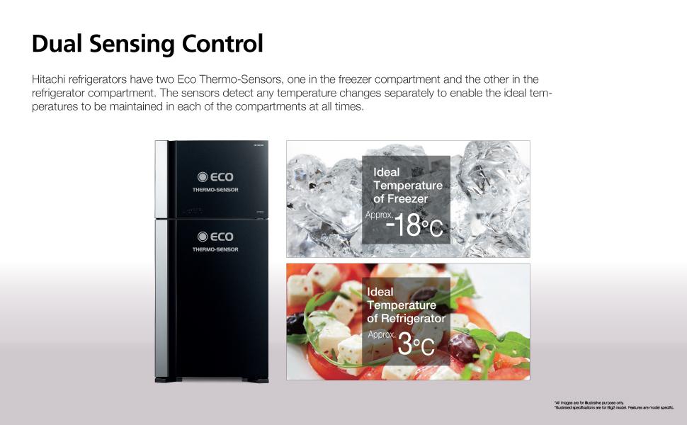 Hitachi Dual Sensing control,2 door refrigerator,2door fridge,hitachi fridge, hitachi refrigerator