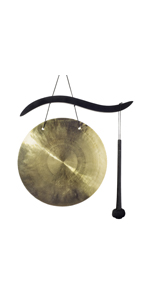 hanging brass gong with mallet
