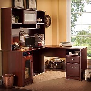 Amazoncom Cabot L Shaped Desk With Hutch In Harvest Cherry - Bush cabot corner computer desk