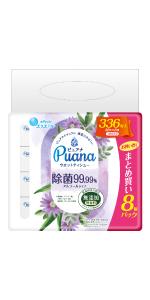 エリエール Puana(ピュアナ)ウエットティシュー 除菌99.99%アルコールタイプ つめかえ用42枚×8P
