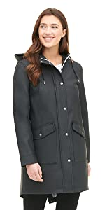 Rubberized Faux Leather Anorak Jacket