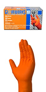 Beige Pack of 100 Ammex ILHD48100 Gloveworks Heavy Duty Powder Free Latex Gloves Extra Large Beaded Cuff 240mm Length