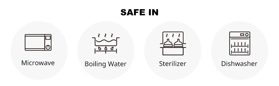 Safe in microwave, boiling water, sterilizer, and dishwasher