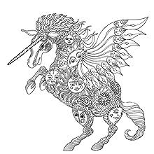 Unicorn, Magic, animals, colouring, lines, pens, pencils, night, scene, mindfulness