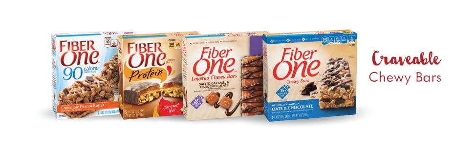 Fiber One, 90 Calorie Chocolate Peanut Butter, Salted Caramel & Dark Chocolate, Caramel Nut, Oats