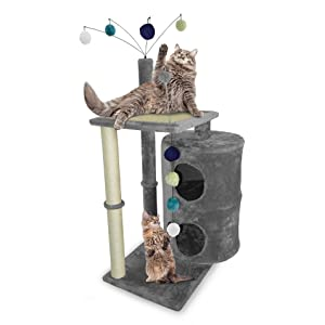 Furhaven Pet Cat Tree Tiger Tough Cat Tree House Condo Entertainment Playground Furniture For Cats And Kittens Cat Table Playground Gray Pet Supplies