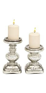 Deco 79 28883 Glass Candleholder Set