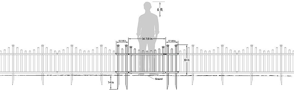 Metal, Gate, fence, yard, fences, garden, black, panel, stake, install, easy, DIY, tall, fences, pet