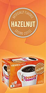 Dunkin Donuts Hazelnut flavored Keurig K-Cup Pods medium roast 100% Arabica coffee beans