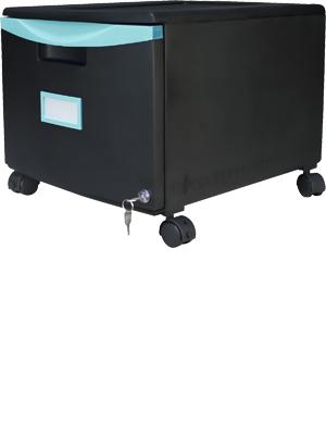 Storex Plastic 1-Drawer Mobile File Cabinet, All-Steel Lock and Key, Black/Teal