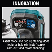 Innovation assist mode two tightening mode features help elimiate screw cam out cross threading